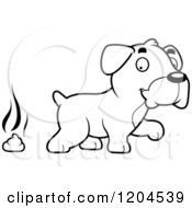 Cartoon Of A Black And White Cute Boxer Puppy Dog And Poop Royalty Free Vector Clipart