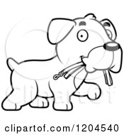 Cartoon Of A Black And White Cute Boxer Puppy Dog Carrying A Leash Royalty Free Vector Clipart