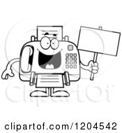 Cartoon Of A Black And White Sick Fax Machine Holding A Sign Royalty Free Vector Clipart