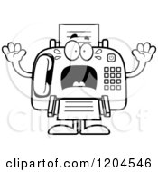 Cartoon Of A Black And White Sick Fax Machine Royalty Free Vector Clipart