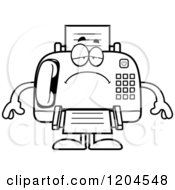 Cartoon Of A Black And White Depressed Fax Machine Royalty Free Vector Clipart