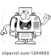Cartoon Of A Black And White Smart Fax Machine Royalty Free Vector Clipart