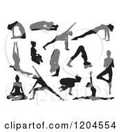Clipart Of Black Silhouetted Women Doing Yoga Poses Royalty Free Vector Illustration