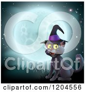 Cartoon Of A Happy Black Cat Wearing A Witch Hat And Sitting Against A Full Moon Royalty Free Vector Clipart