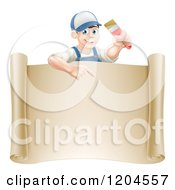 Happy Male House Painter Holding A Brush And Pointing Over A Scroll Sign