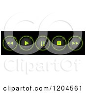 Clipart Of Glowing Neon Green Round Control Buttons On Black Royalty Free Vector Illustration