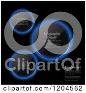 Clipart Of Glowing Blue Neon Infographic Lens Circles On Black With Sample Text Royalty Free Vector Illustration