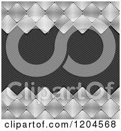 Clipart Of 3d Brushed Metal Diamond Tiles Bordering Carbon Fiber Royalty Free Vector Illustration