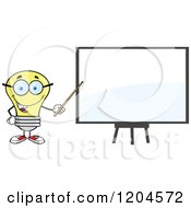 Cartoon Of A Happy Yellow Light Bulb Mascot Teacher Pointing To A White Board Royalty Free Vector Clipart