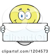 Cartoon Of A Happy Yellow Light Bulb Mascot Holding A Sign 3 Royalty Free Vector Clipart
