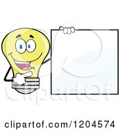 Cartoon Of A Happy Yellow Light Bulb Mascot Pointing To A Sign 2 Royalty Free Vector Clipart