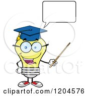 Cartoon Of A Happy Yellow Light Bulb Mascot Professor Talking And Using A Pointer Stick Royalty Free Vector Clipart