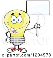 Cartoon Of A Happy Yellow Light Bulb Mascot Holding A Sign 2 Royalty Free Vector Clipart