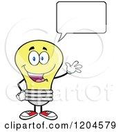 Cartoon Of A Happy Talking And Waving Yellow Light Bulb Mascot Royalty Free Vector Clipart
