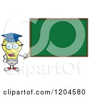 Happy Yellow Light Bulb Mascot Professor Pointing To A Chalk Board