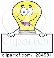 Cartoon Of A Happy Yellow Light Bulb Mascot Over A Sign Royalty Free Vector Clipart