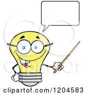 Cartoon Of A Happy Talking Yellow Light Bulb Mascot Teacher Using A Pointer Stick 2 Royalty Free Vector Clipart