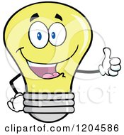 Cartoon Of A Happy Yellow Light Bulb Mascot Holding A Thumb Up Royalty Free Vector Clipart
