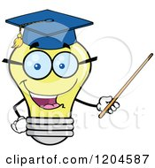 Cartoon Of A Happy Yellow Light Bulb Mascot Professor Using A Pointer Stick 2 Royalty Free Vector Clipart