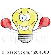 Cartoon Of A Happy Yellow Light Bulb Mascot Fighter Wearing Boxing Gloves Royalty Free Vector Clipart by Hit Toon
