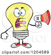 Cartoon Of A Yellow Light Bulb Mascot Announcing With A Megaphone Royalty Free Vector Clipart by Hit Toon