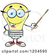 Cartoon Of A Happy Yellow Light Bulb Mascot Teacher Using A Pointer Stick Royalty Free Vector Clipart