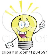Cartoon Of A Happy Yellow Light Bulb Mascot With An Idea Royalty Free Vector Clipart
