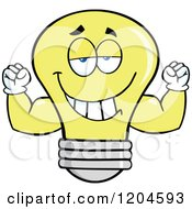 Cartoon Of A Happy Yellow Light Bulb Mascot Flexing Muscles Royalty Free Vector Clipart