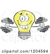 Cartoon Of A Happy Yellow Light Bulb Mascot Weightlifting Dumbbells Royalty Free Vector Clipart