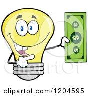 Cartoon Of A Happy Yellow Light Bulb Mascot Holding A Dollar Bill 2 Royalty Free Vector Clipart