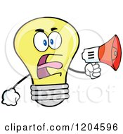 Cartoon Of A Yellow Light Bulb Mascot Announcing With A Megaphone 2 Royalty Free Vector Clipart by Hit Toon
