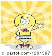 Cartoon Of A Happy Waving Yellow Light Bulb Mascot Over Rays Royalty Free Vector Clipart