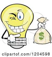 Cartoon Of A Winking Yellow Light Bulb Mascot Holding A Money Sack Royalty Free Vector Clipart