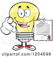 Cartoon Of A Happy Yellow Light Bulb Mascot Pointing And Holding A Contract Royalty Free Vector Clipart