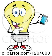 Cartoon Of A Happy Yellow Light Bulb Mascot Pointing To A Tablet Computer Royalty Free Vector Clipart by Hit Toon