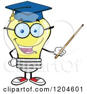 Cartoon Of A Happy Yellow Light Bulb Mascot Professor Using A Pointer Stick Royalty Free Vector Clipart by Hit Toon
