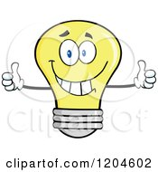 Cartoon Of A Happy Yellow Light Bulb Mascot Holding Two Thumbs Up Royalty Free Vector Clipart by Hit Toon