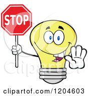 Cartoon Of A Happy Yellow Light Bulb Mascot Holding A Stop Sign 2 Royalty Free Vector Clipart by Hit Toon