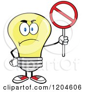 Cartoon Of A Mad Yellow Light Bulb Mascot Holding A Forbidden Sign Royalty Free Vector Clipart by Hit Toon