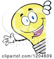 Cartoon Of A Happy Yellow Light Bulb Mascot Waving Around A Sign Royalty Free Vector Clipart by Hit Toon