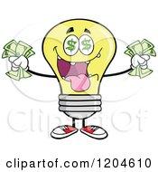 Cartoon Of A Rich Yellow Light Bulb Mascot Holding Cash Royalty Free Vector Clipart