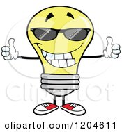 Cartoon Of A Happy Yellow Light Bulb Mascot Wearing Sunglasses And Holding Two Thumbs Up Royalty Free Vector Clipart by Hit Toon
