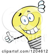 Cartoon Of A Happy Yellow Light Bulb Mascot Holding A Thumb Up Around A Sign Royalty Free Vector Clipart by Hit Toon