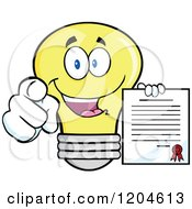 Cartoon Of A Happy Yellow Light Bulb Mascot Pointing And Holding A Contract 2 Royalty Free Vector Clipart by Hit Toon