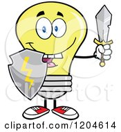 Cartoon Of A Happy Yellow Light Bulb Mascot With A Sword And Shield Royalty Free Vector Clipart