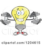 Cartoon Of A Happy Yellow Light Bulb Mascot Lifting Dumbbell Weights Royalty Free Vector Clipart by Hit Toon
