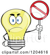 Cartoon Of A Happy Yellow Light Bulb Mascot Holding A Prohibited Sign Royalty Free Vector Clipart by Hit Toon