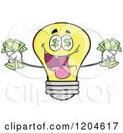 Cartoon Of A Rich Yellow Light Bulb Mascot Holding Cash 2 Royalty Free Vector Clipart