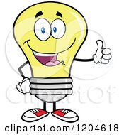Cartoon Of A Happy Yellow Light Bulb Mascot Holding A Thumb Up Royalty Free Vector Clipart by Hit Toon