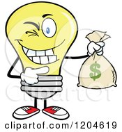 Cartoon Of A Winking Yellow Light Bulb Mascot Holding A Money Savings Bag Royalty Free Vector Clipart by Hit Toon